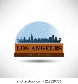 Los Angeles, United States of America city skyline silhouette in snow globe. Vector design.