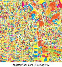 Los Angeles, United States, colorful vector map.  White streets, railways and water. Bright colored landmark shapes. Art print pattern.