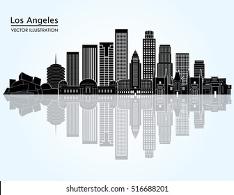 Los Angeles (United States) detailed city skyline. Vector illustration