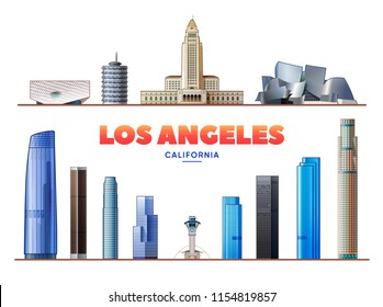 Los Angeles, (USA ) landmarks vector illustration on white background. Business travel and tourism concept with modern buildings. Image for presentation, banner, web site.
