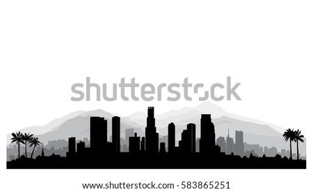 los angeles usa skyline city silhouette stock vector royalty free