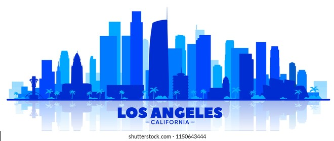 Los Angeles (USA) skyline silhouette on a white background. Flat vector illustration. Business travel and tourism concept with modern buildings. Image for banner or web site.