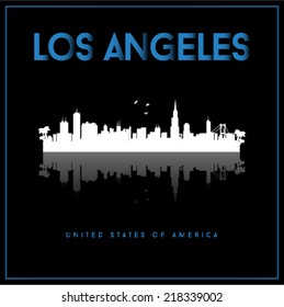 Los Angeles, USA skyline silhouette vector design on black background.