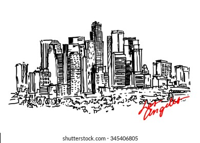 Los Angeles view. City architecture. Hand drawn, sketch