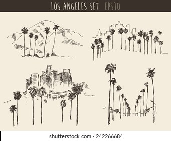 Los Angeles views set (California) skyline engraved style, hand drawn vector illustration