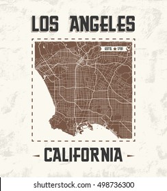 Los Angeles vintage t-shirt graphic design with city map. Vector illustration.