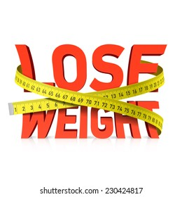 Lose weight word with measuring tape concept. Vector.