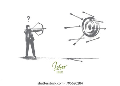 Loser concept. Hand drawn failure in business. Unfortunate attempt to hit the target isolated vector illustration.