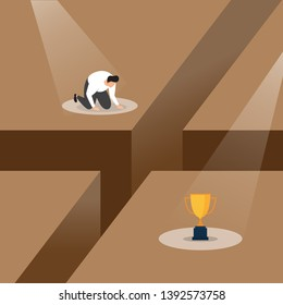 A Loser Slumped Frustrated with Failure under Spotlight Business Concept Illustration