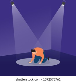 A Loser Slumped Frustrated on Podium with Spotlight Business Concept Illustration