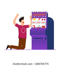 Losing Gambling on Machine Vector Illustration. Man made Money bet and Lost. Guy was Very Upset, Wheel Fortune did not Work. Failure in Casino Led Man to Despair. Jackpot Slot Machine.