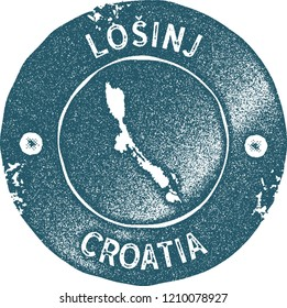 Losinj map vintage stamp. Retro style handmade label, badge or element for travel souvenirs. Blue rubber stamp with island map silhouette. Vector illustration.