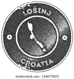 Losinj map vintage stamp. Retro style handmade label, badge or element for travel souvenirs. Dark grey rubber stamp with island map silhouette. Vector illustration.