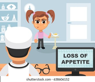 Loss of appetite medical concept. Vector illustration. Doctor and patient are talking in the hospital. Isolated on white background.