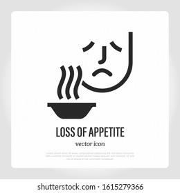 Loss of appetite thin line icon. Symptom of illness or infection. Sad man near plate with food. Vector illustration.
