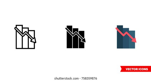 Loss icon of 3 types: color, black and white, outline. Isolated vector sign symbol.