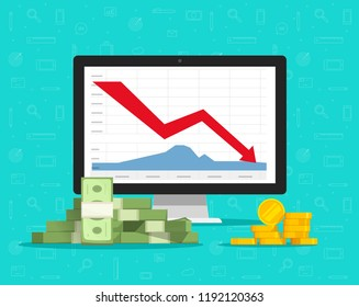 Loss money on computer stocks graphs, vector illustration, flat cartoon pc and cash charts down arrow on screen, concept of unsuccessful financial trading, bad revenue or economy budget fail