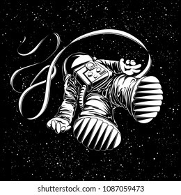 Lost astronaut illustration. Flying spaceman on black starry background.