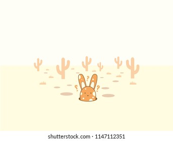 A lost bunny in the desert
