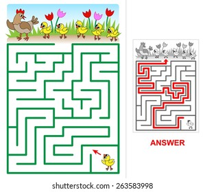 Lost chicken maze for kids. One small chick is lost. Help him to find his mom, brothers and sisters.