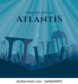The Lost City of Atlantis Vector Illustration