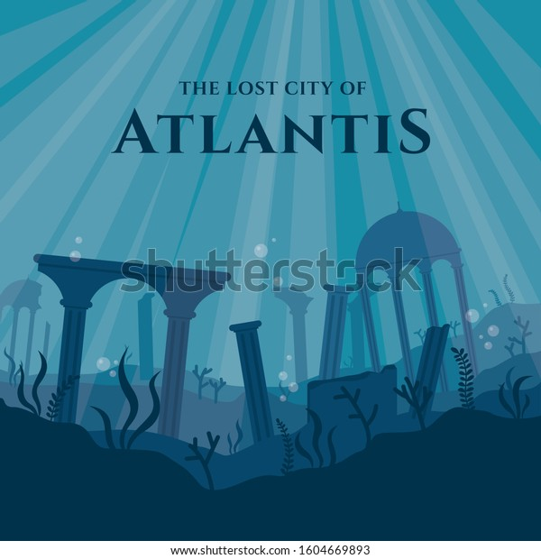 The Lost City of Atlantis Vector Illustration