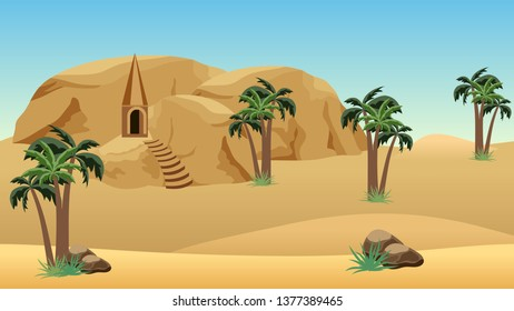 Lost city in desert - landscape scene for cartoon or game background. Forgotten desert city in sandy rocks for game asset or level location. Sand dunes, mountains, palms. Vector illustration.