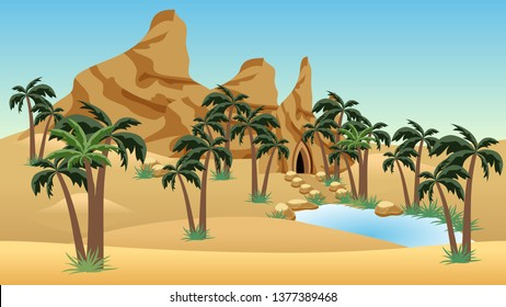 Lost city oasis in  desert - landscape scene  for cartoon or game background or level location. Can be used as game asset. Sand dunes, rocks, palms, house in cave, blue lake. Vector illustration.