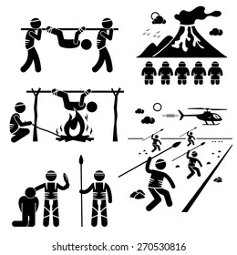 Lost Civilization Cannibal Man Eating Tribe Stick Figure Pictogram Icons