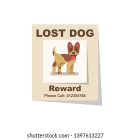 Lost dog. Reward for the find. Missing poster. Lost puppy poster.