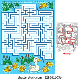 Lost duckling. Help duck to find a path to mum and siblings. Labyrinth for kids. Vector illustration of labyrinth, maze with entry and exit.