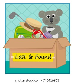 Lost and Found - Clip art of a box with lost items. Eps10