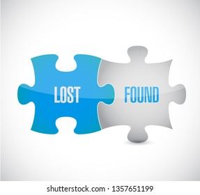 lost and found puzzle pieces sign illustration design over a white background