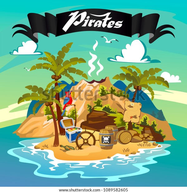 Lost Island Pirate Island Pirate Rock Stock Vector Royalty