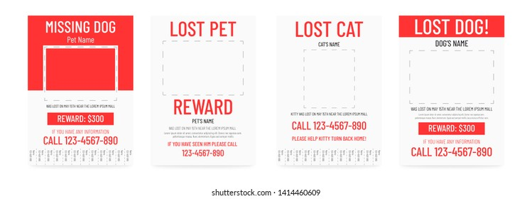 Lost pet poster template. Missing banner design