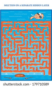 Lost Sailor's Maze Game (help sailor find his lost boat) Maze puzzle with solution