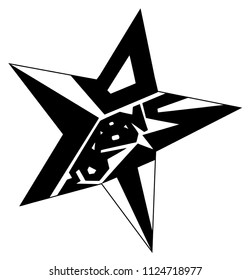Lost Star. Hand drawn symbolic typography. Black and white poster. Typographic design for greeting card, poster, t-shirt.