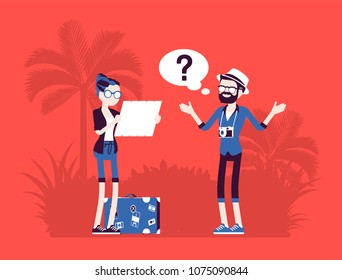 Lost tourists in a foreign country. People in vacation unable to find way, not knowing direction, bad in planning a route, navigation, language problems. Vector illustration with faceless characters
