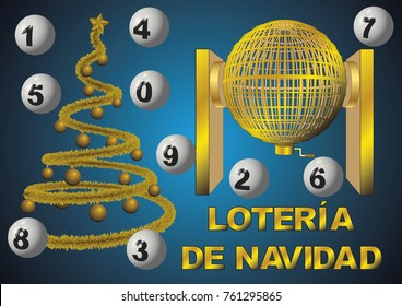 loteria nacional de navidad. Circled golden lottery cage with numbers. National christmas lottery. vector illustration