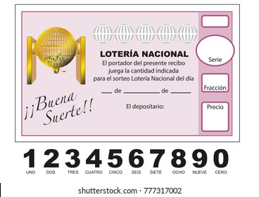 Loteria Nacional. Spanish national lottery tenth. Participacion, decimo. Vector illustration