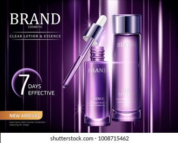 Lotion and essence ads, cosmetic containers set in purple with light rays in 3d illustration