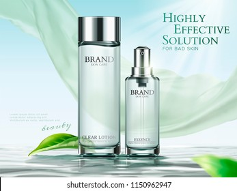 Lotion and essence ads in light green tone with chiffon and green leaves in 3d illustration