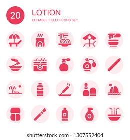 lotion icon set. Collection of 20 filled lotion icons included Beach, Incense, Padthai, Wax, Skin, Perfume, Nail brush, Shampoo, Make up, Makeup, Lotion