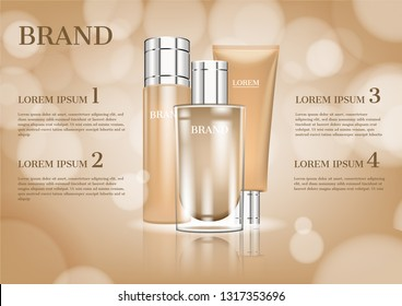 Lotion moisturizer and cream with glittering lights on beige background