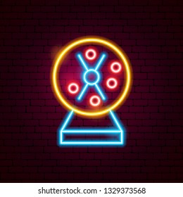 Loto Machine Neon Sign. Vector Illustration of Game Promotion.