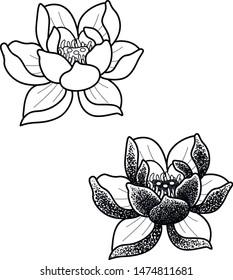 lotos japan flower tattoo work