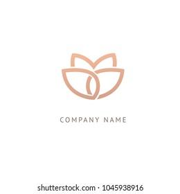 Lotos logo. Wedding icon. Luxury retro emblem. Cosmetics, Spa, Beauty salon, Decoration, Boutique vector logo. Royal Jewelry, Yoga, Premium Logo. Resort and Restaurant design illustration.