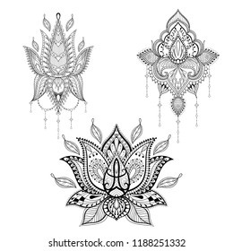 Lotos tattoo set in monochrome graphic style. Zen art, ethnic symbols. Indian spirit mechendi flash tattoo. Colouring book decoration, design elements for adult coloring page.