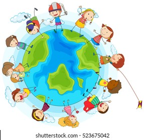Lots of children around the world illustration