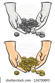 lots of coins in hands monochrome and colorful  business/finance illustration